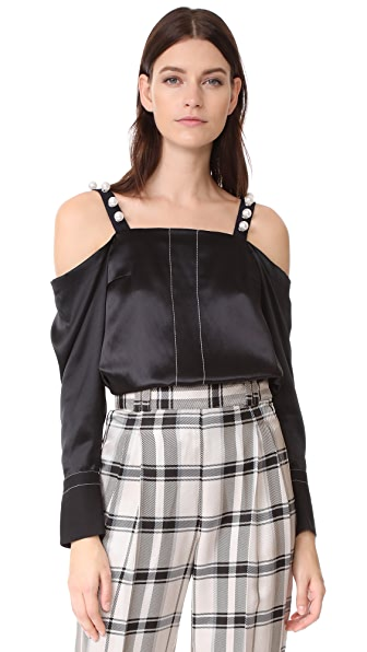 3.1 Phillip Lim Cold Shoulder Top In Black