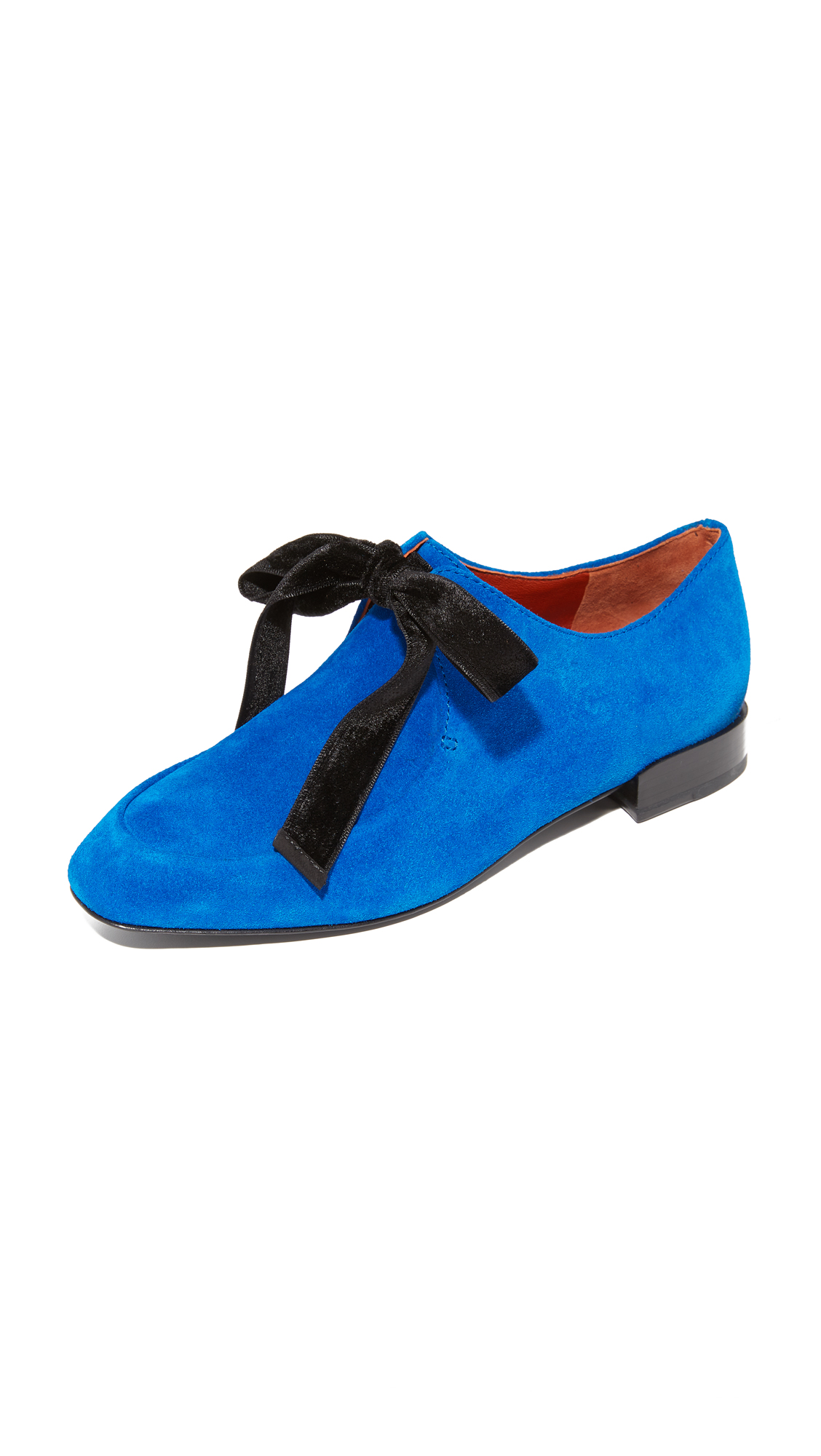 3.1 Phillip Lim Square Toe Lace Up Flats - Electric Blu