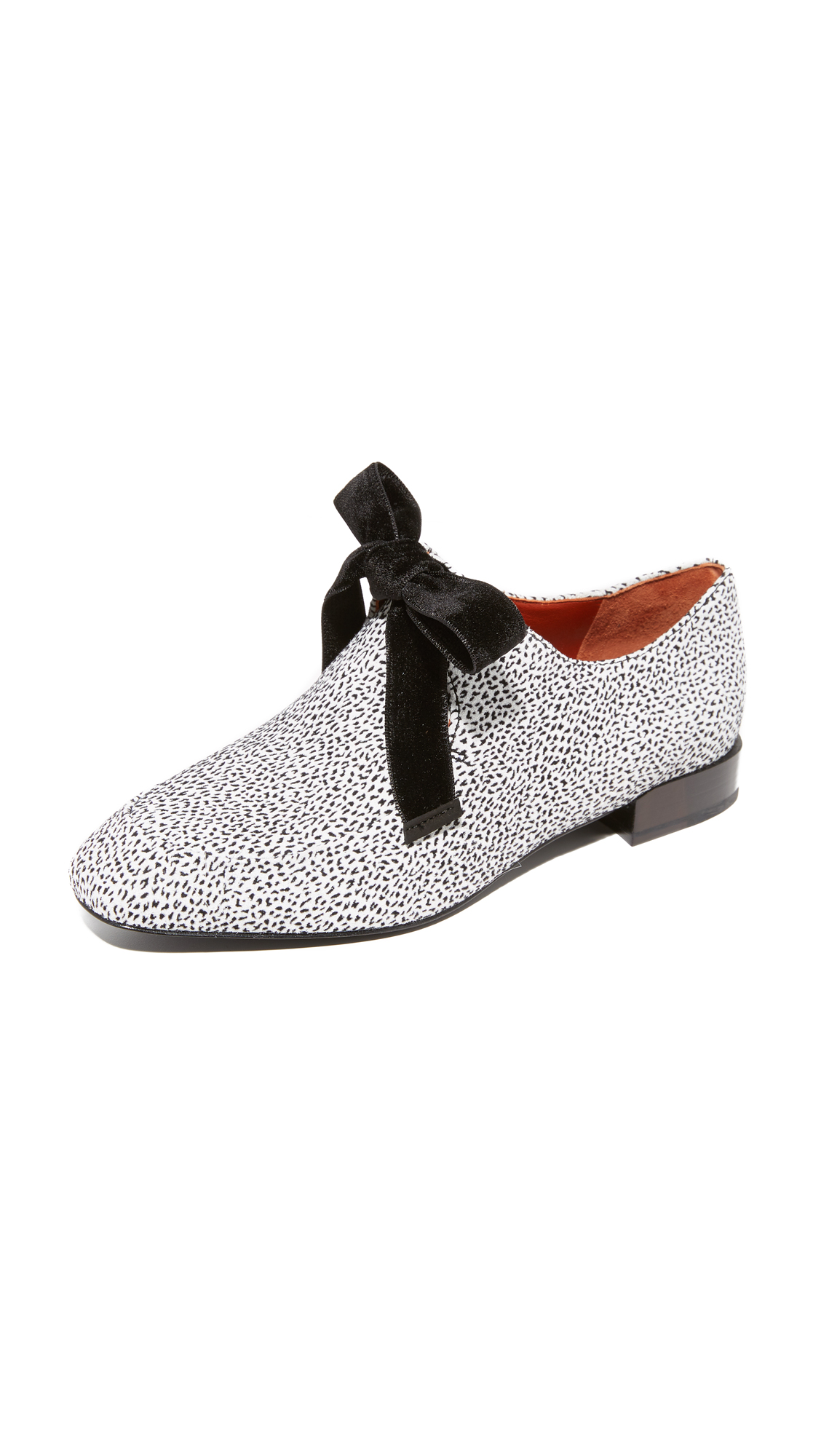 3.1 Phillip Lim Square Toe Lace Up Flats - White Cheetah