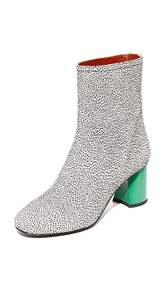 3.1 Phillip Lim Drum Contrast Heel Booties In White Cheetah