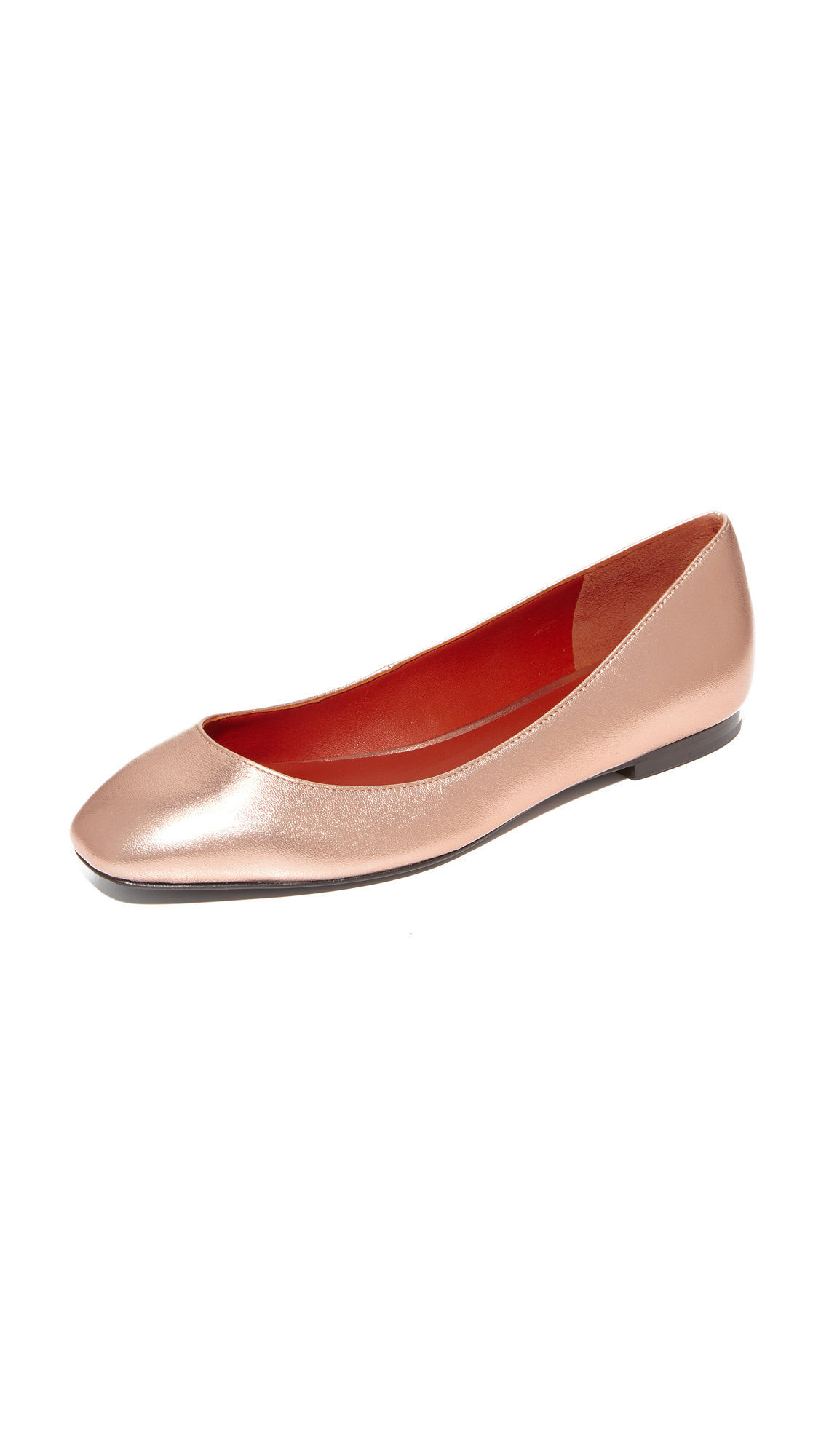 3.1 Phillip Lim Square Toe Ballet Flats - Rose Gold