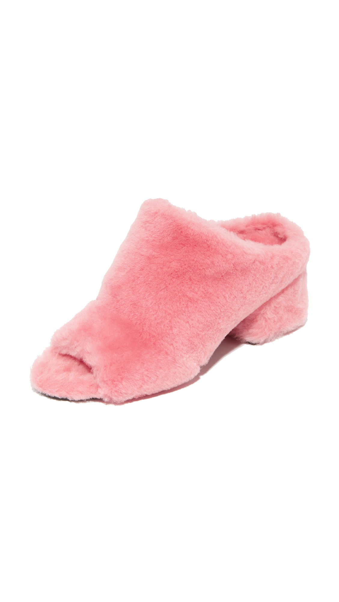 3.1 Phillip Lim Cube Shearling Mules - Candy Pink