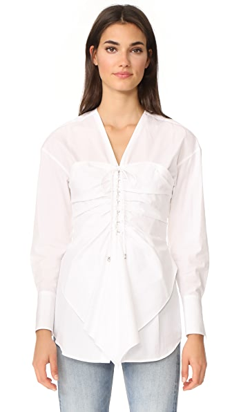 3.1 Phillip Lim Long Sleeve Gathered Front Blouse