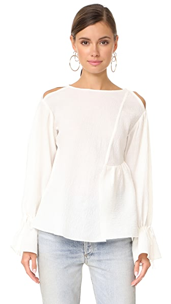 3.1 Phillip Lim Long Sleeve Top with Ruffle Hem