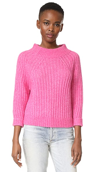 3.1 Phillip Lim 3/4 Sleeve Rib Pullover In Candy Pink