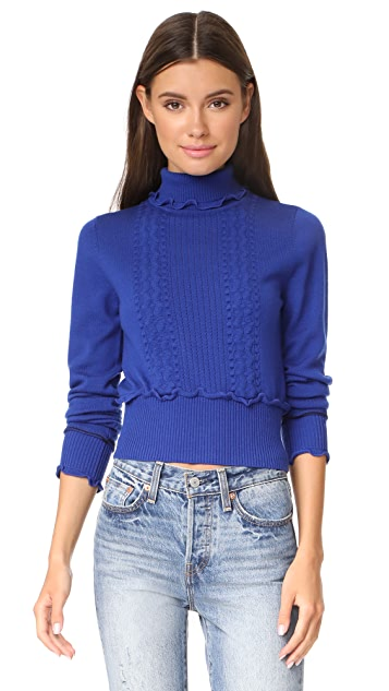 3.1 Phillip Lim Puffy Cable Turtleneck Pullover