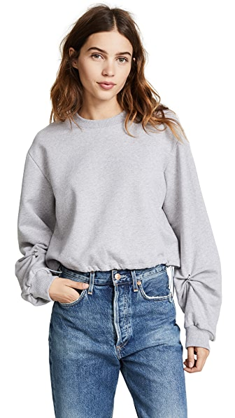 3.1 Phillip Lim Long Sleeve Pullover with Pierced Sleeve In Grey Melange