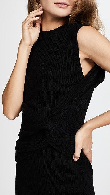 3.1 Phillip Lim Draped Wool Rib Twist Tank Dress