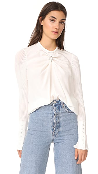 3.1 Phillip Lim LS Combo Top with Knit Sleeves - Ant. White