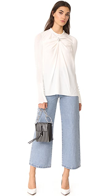 3.1 Phillip Lim LS Combo Top with Knit Sleeves