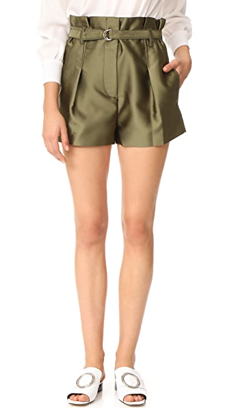 3.1 Phillip Lim Satin Origami Shorts - Everglade