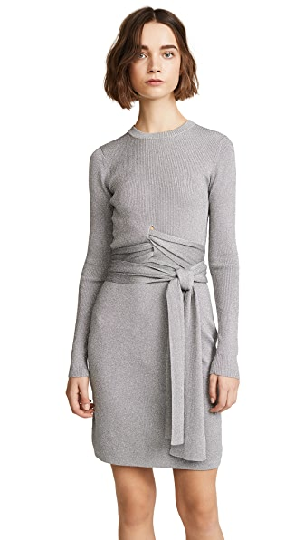 3.1 Phillip Lim Rib Wrapped Waist Dress In Silver