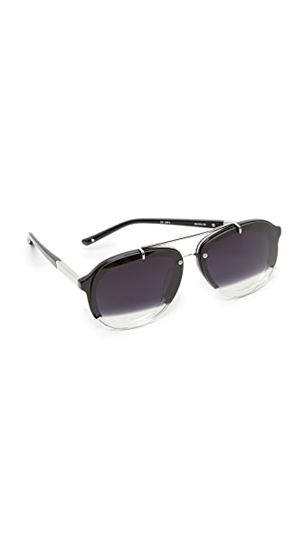 3.1 Phillip Lim Split Aviator Sunglasses - Silver/Black to Clear