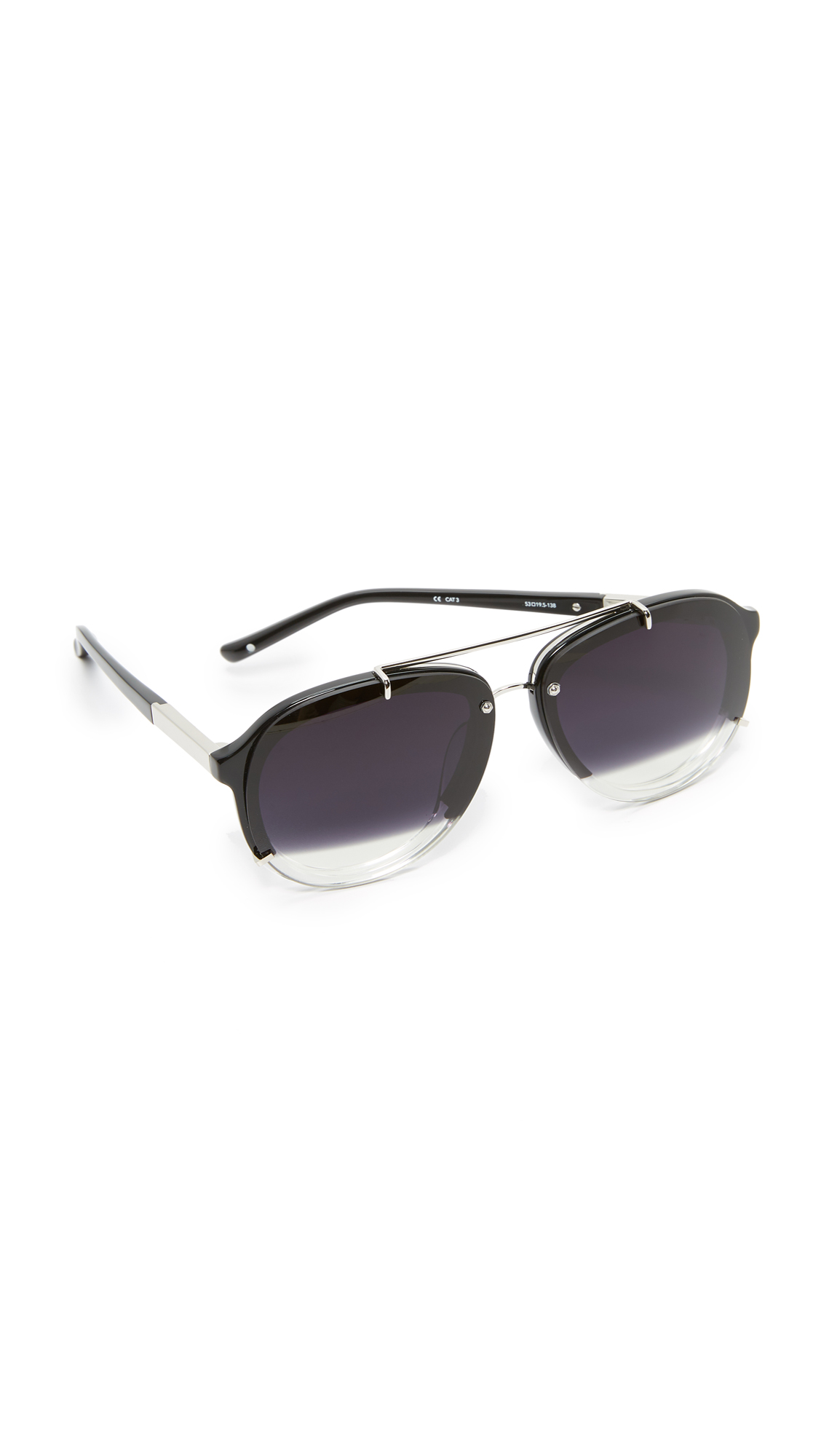 3.1 Phillip Lim Split Aviator Sunglasses - Silver/Black To Clear