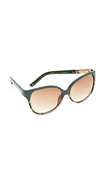 3.1 Phillip Lim Cat Eye Sunglasses - Hunter Green Tort/Rust