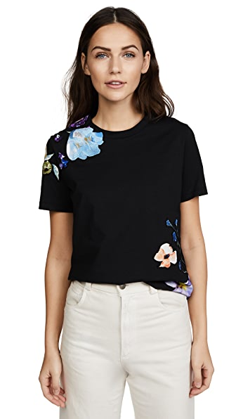 3.1 Phillip Lim Short Sleeve Floral Applique Tee In Black