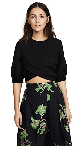 3.1 Phillip Lim Short Sleeve Twisted Cropped Tee In Black
