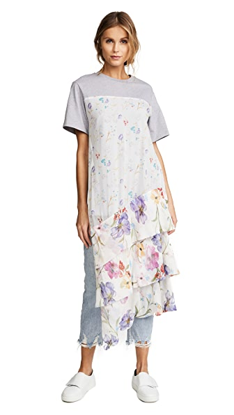 3.1 Phillip Lim Tiered Tee Tunic In Heather Grey