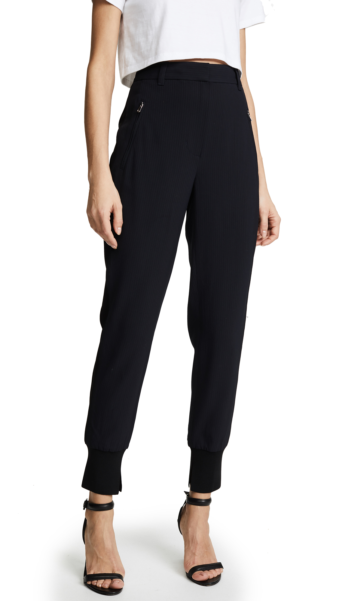 Buy 3.1 Phillip Lim online - photo of 3.1 Phillip Lim Pinstripe Jogger Pants with Piping