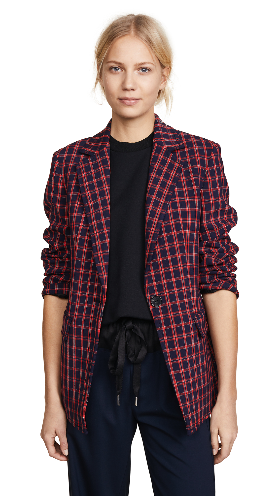 3.1 Phillip Lim Plaid Single Button Blazer - Black/Red
