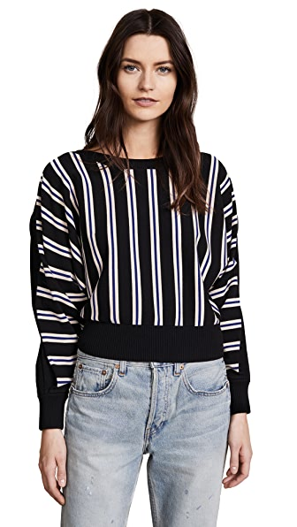 3.1 Phillip Lim 3/4 Sleeve Ottoman Stripe Sweater at Shopbop
