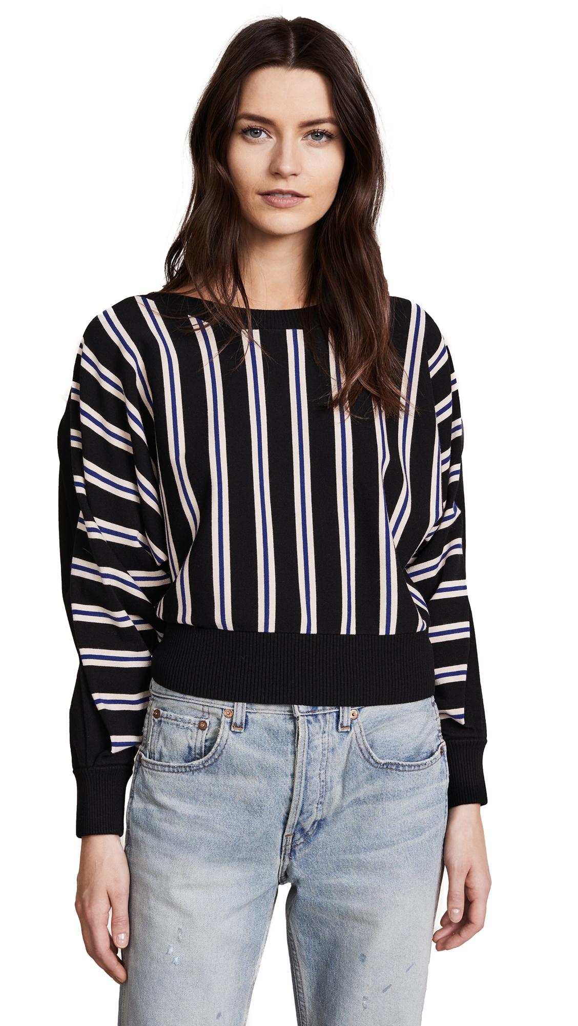 3.1 Phillip Lim 3/4 Sleeve Ottoman Stripe Sweater - Black
