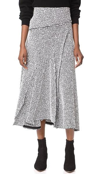 3.1 Phillip Lim Draped Skirt In Antique White/Black