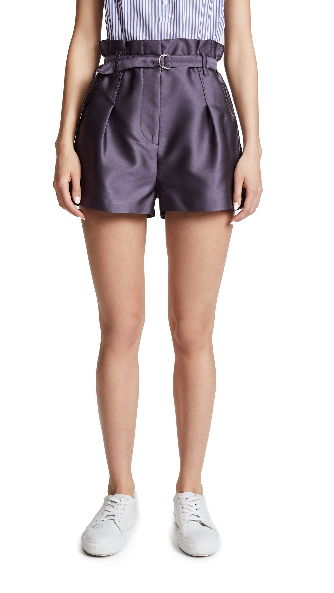3.1 Phillip Lim Satin Origami Shorts - Dark Grey