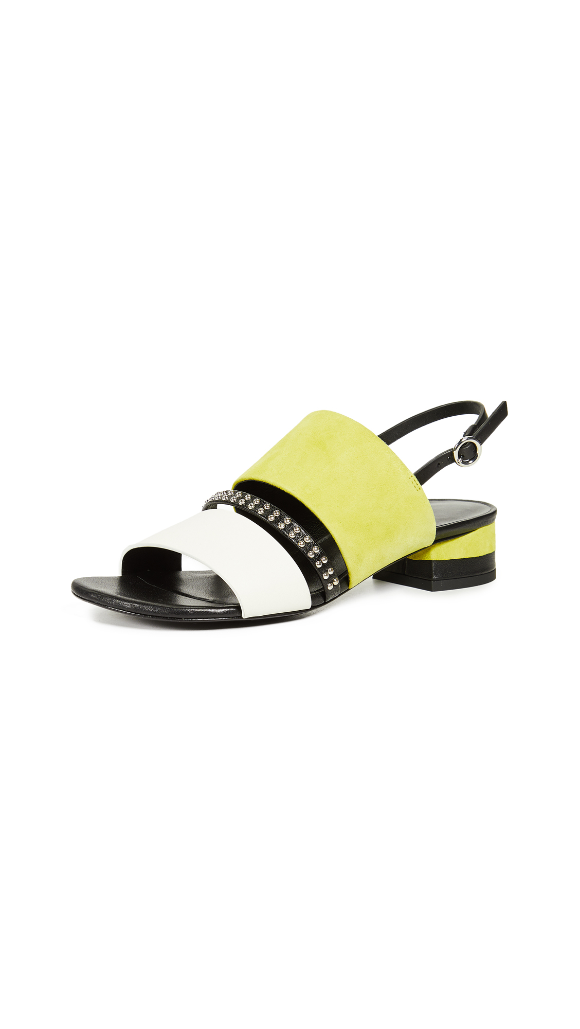 3.1 Phillip Lim Drum 30mm Studded Sandals - Citron Multi