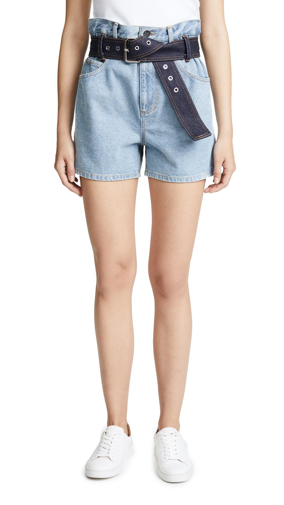 3.1 Phillip Lim Belted Paperbag Shorts - Indigo