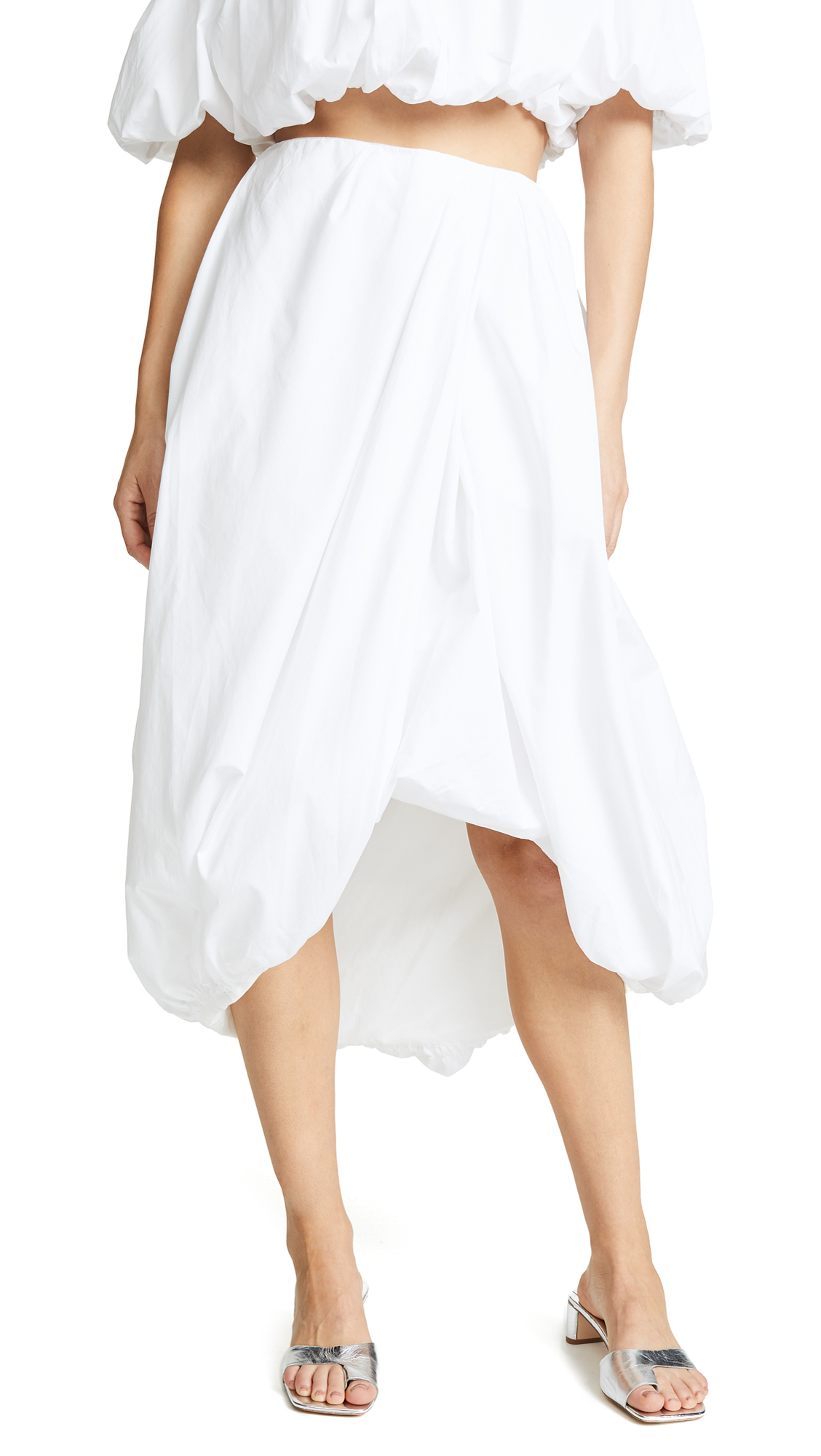 3.1 Phillip Lim Draped Bubble Skirt In Optic White