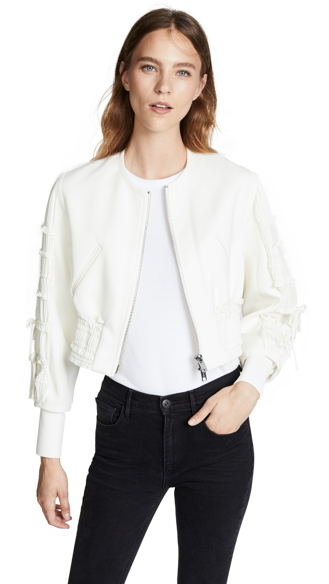 3.1 Phillip Lim Gathered Sleeve Bomber Jacket In Ivory