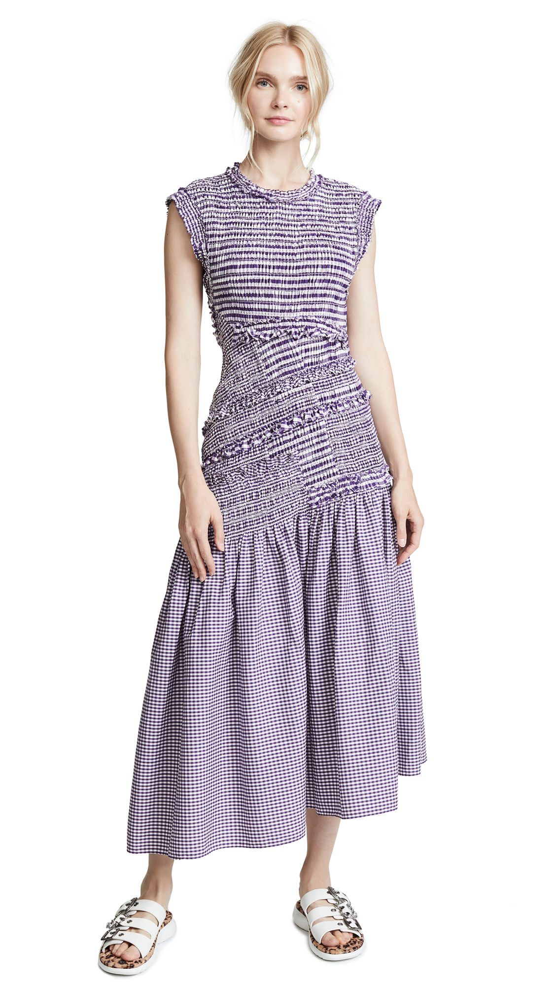 3.1 Phillip Lim Drop Waist Dress In Purple/White