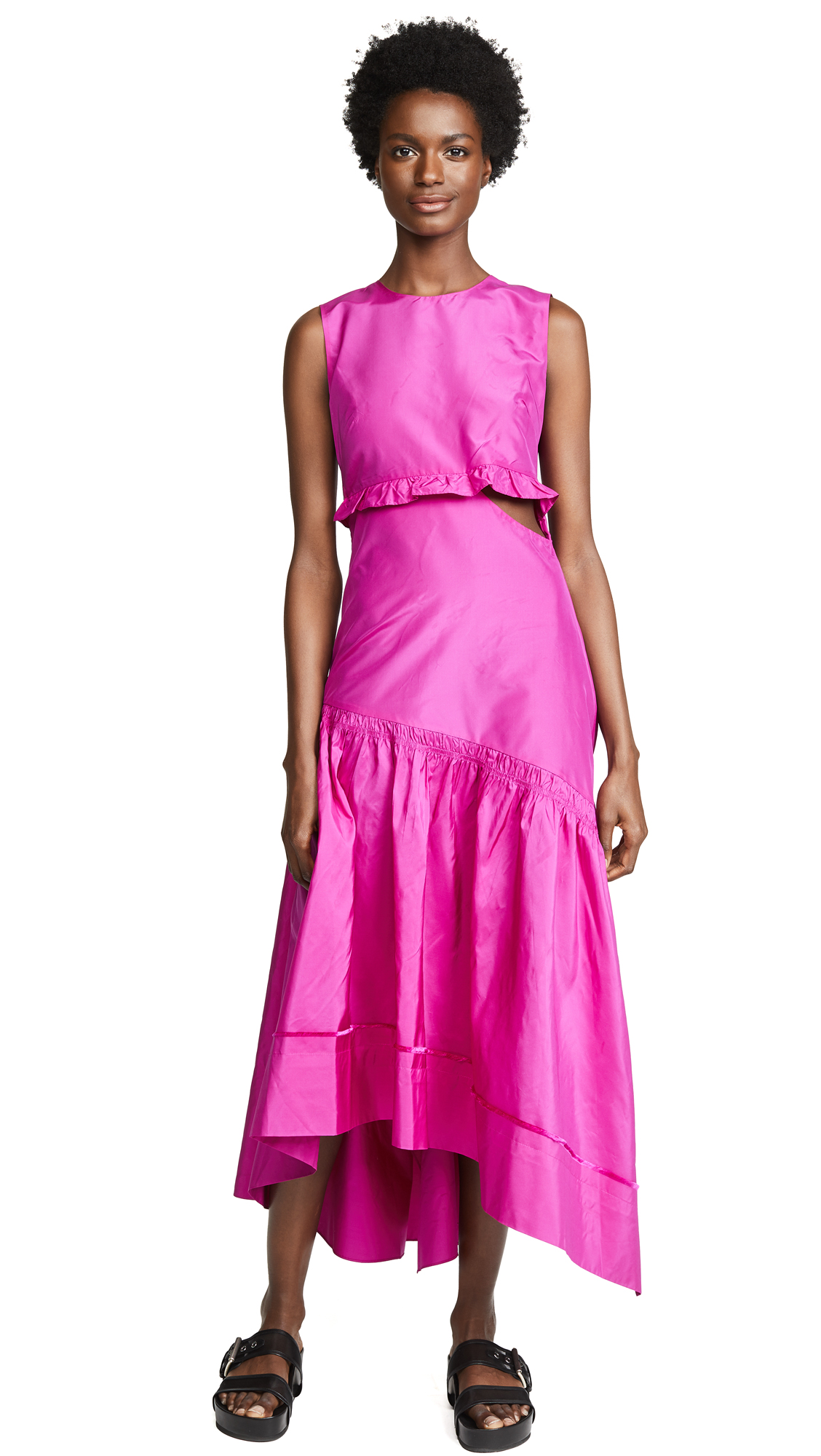 Asymmetrical Silk Taffeta Dress, Fuchsia