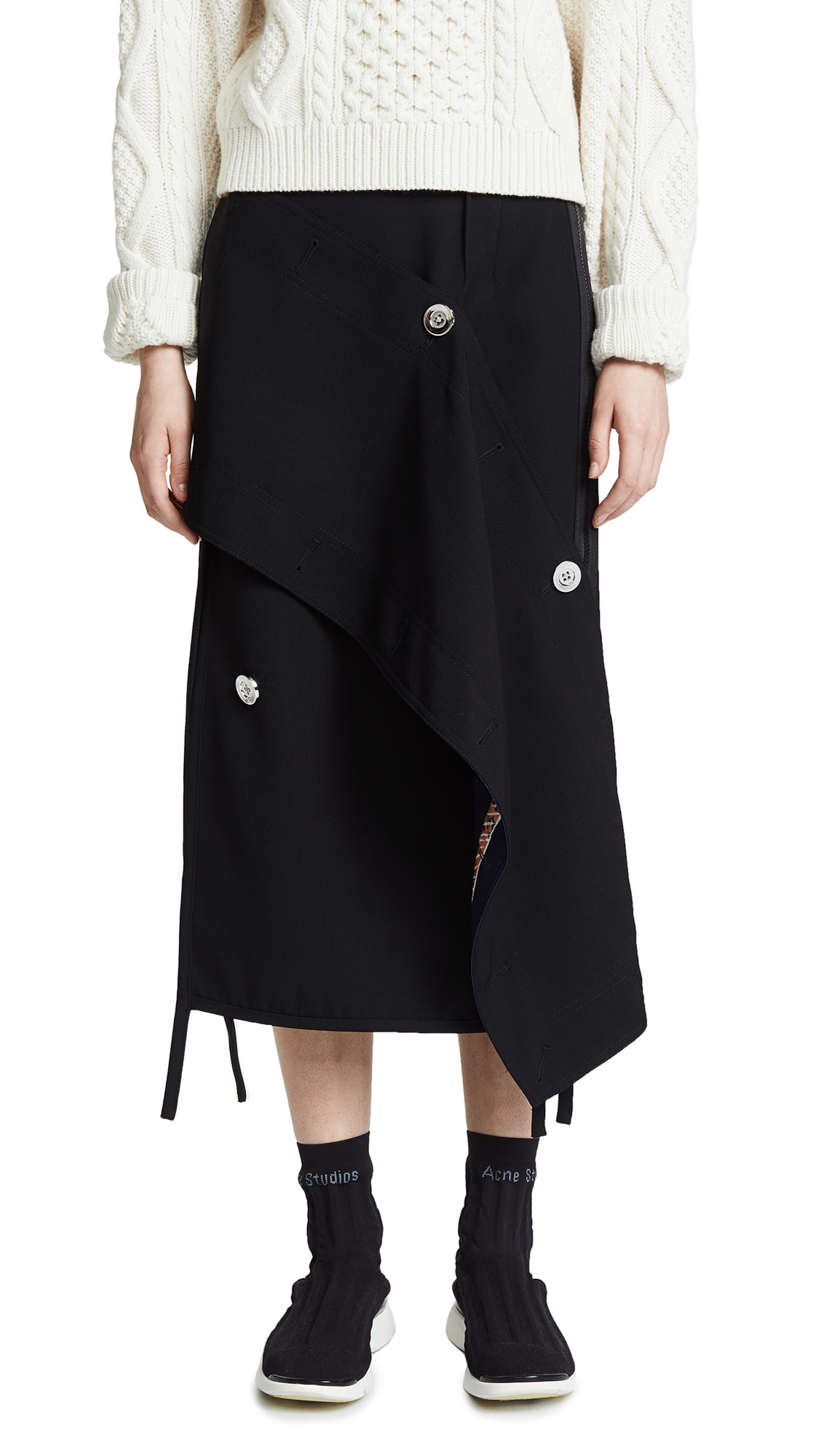 3.1 Phillip Lim Asymmetrical Wool Skirt In Black
