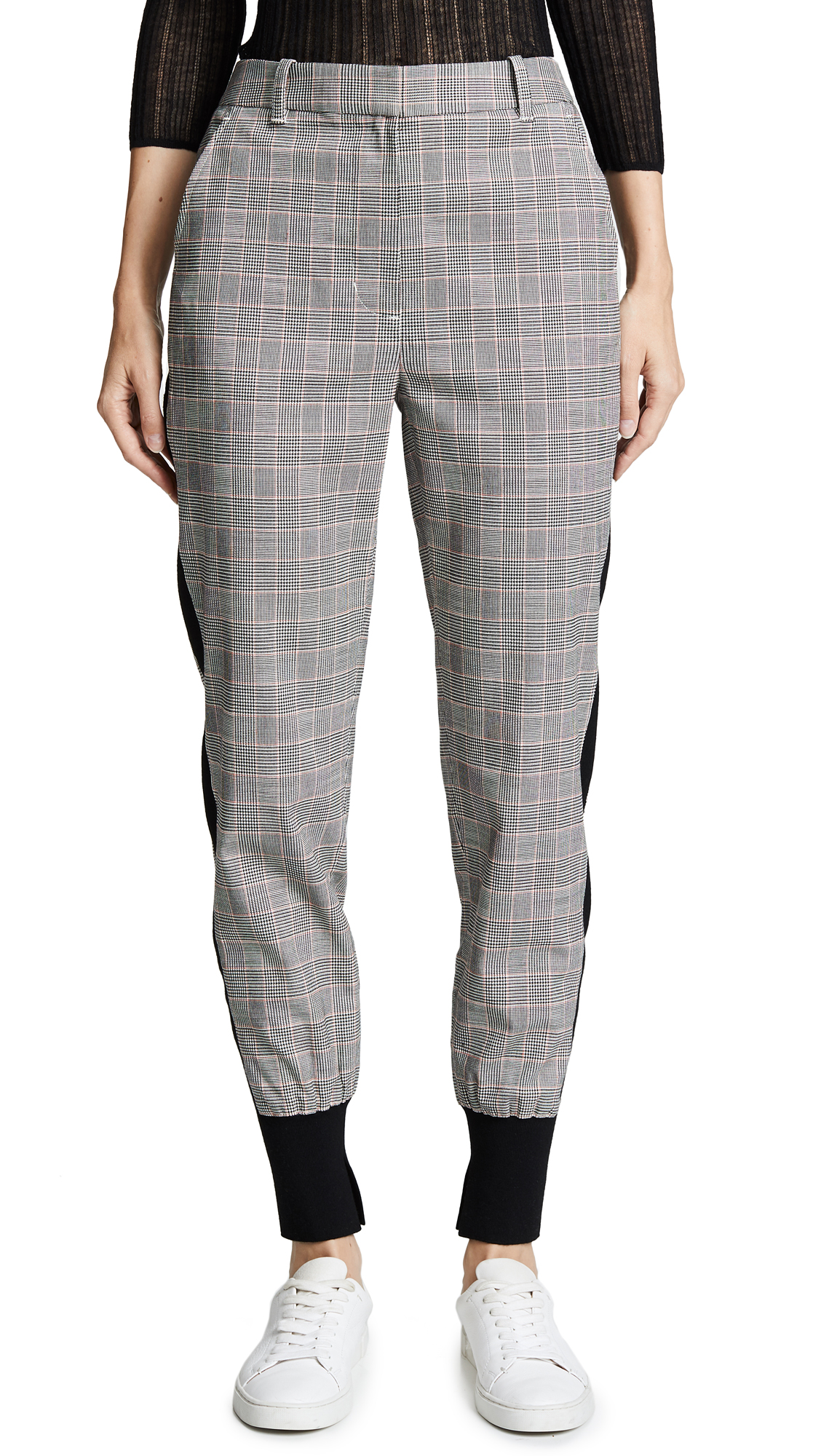 Ribbed Knit-Trimmed Checked Wool-Blend Track Pants in Gray