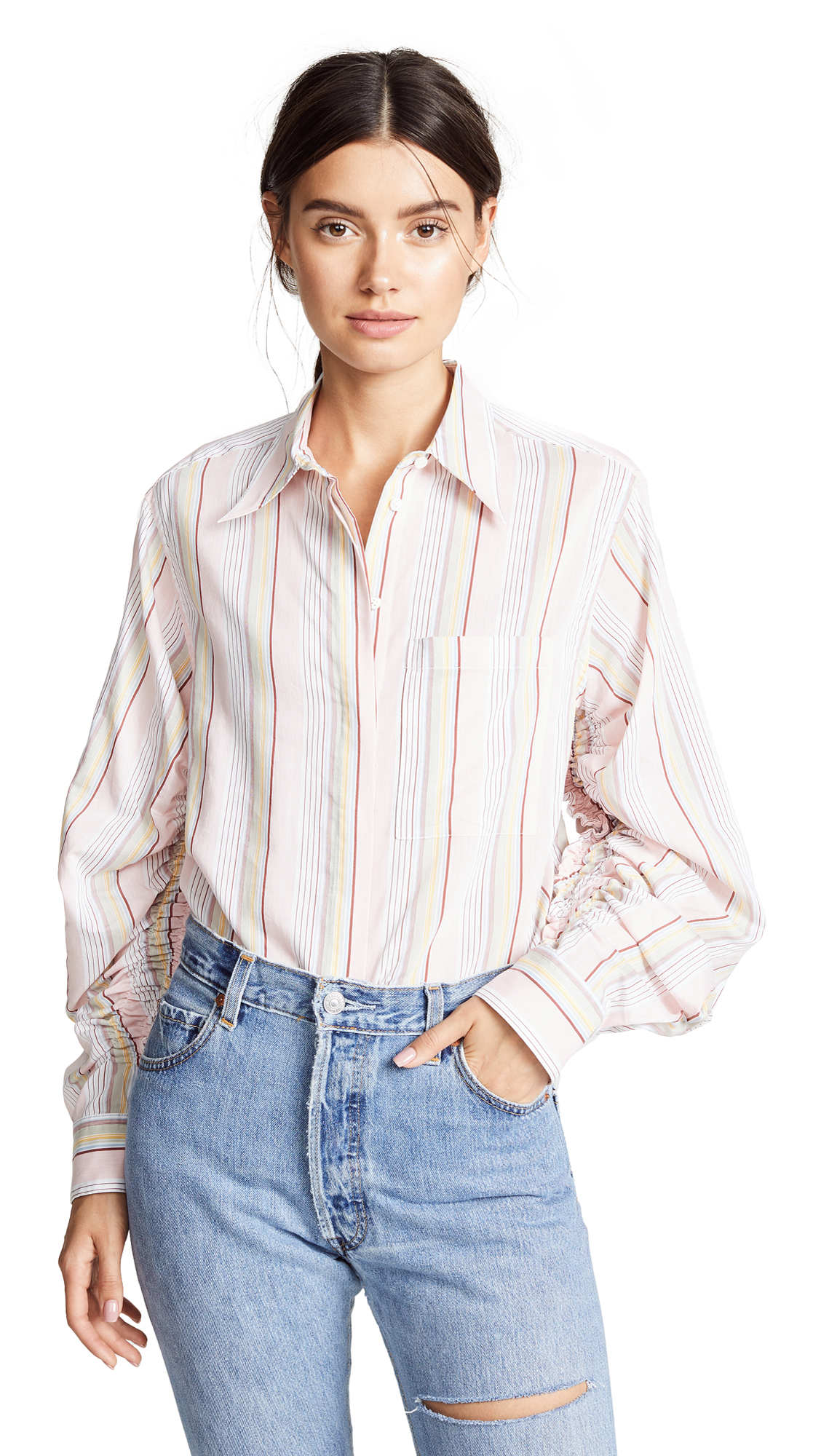 3.1 Phillip Lim Striped Gathered Sleeve Shirt - Pink Multi