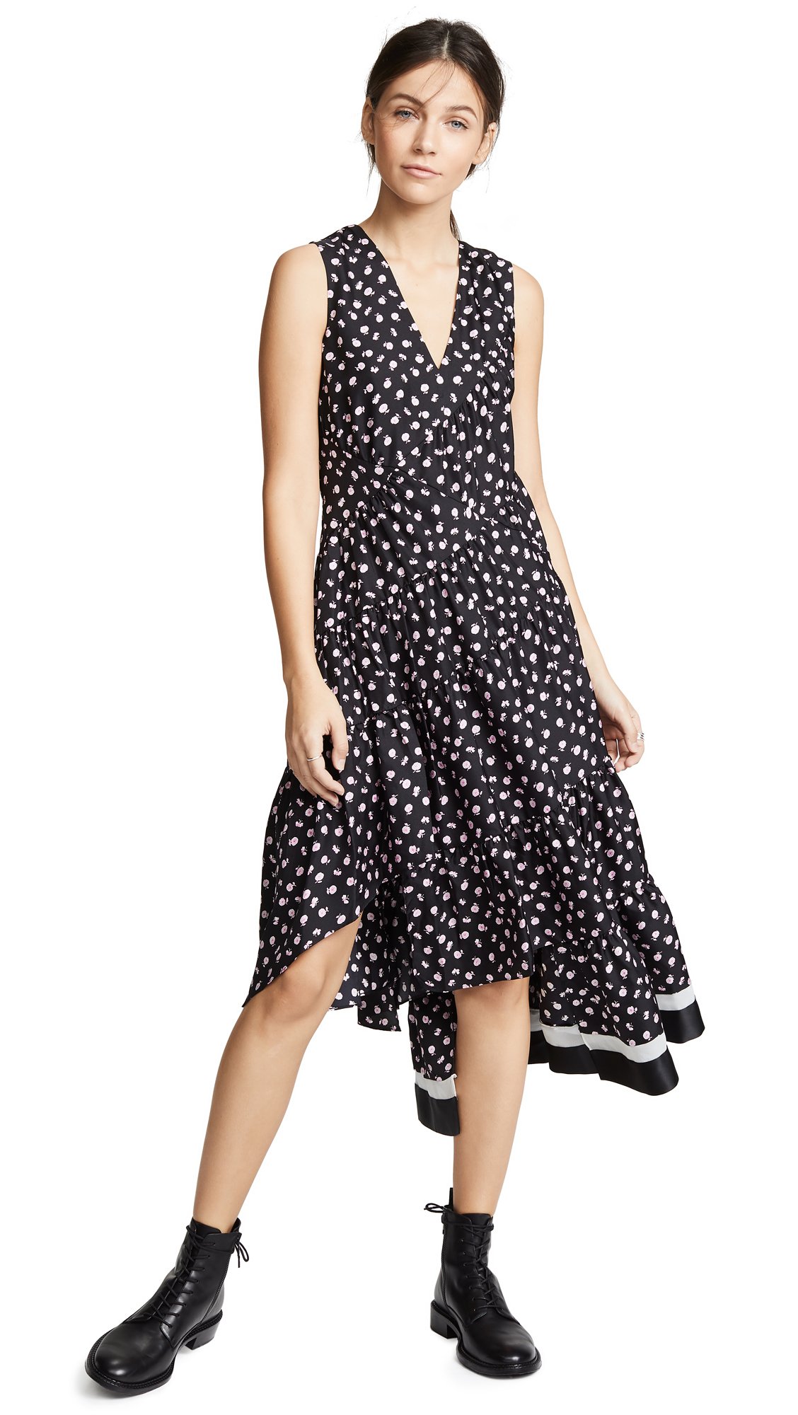 3.1 Phillip Lim Daisy Gathered Dress - Black/Pink