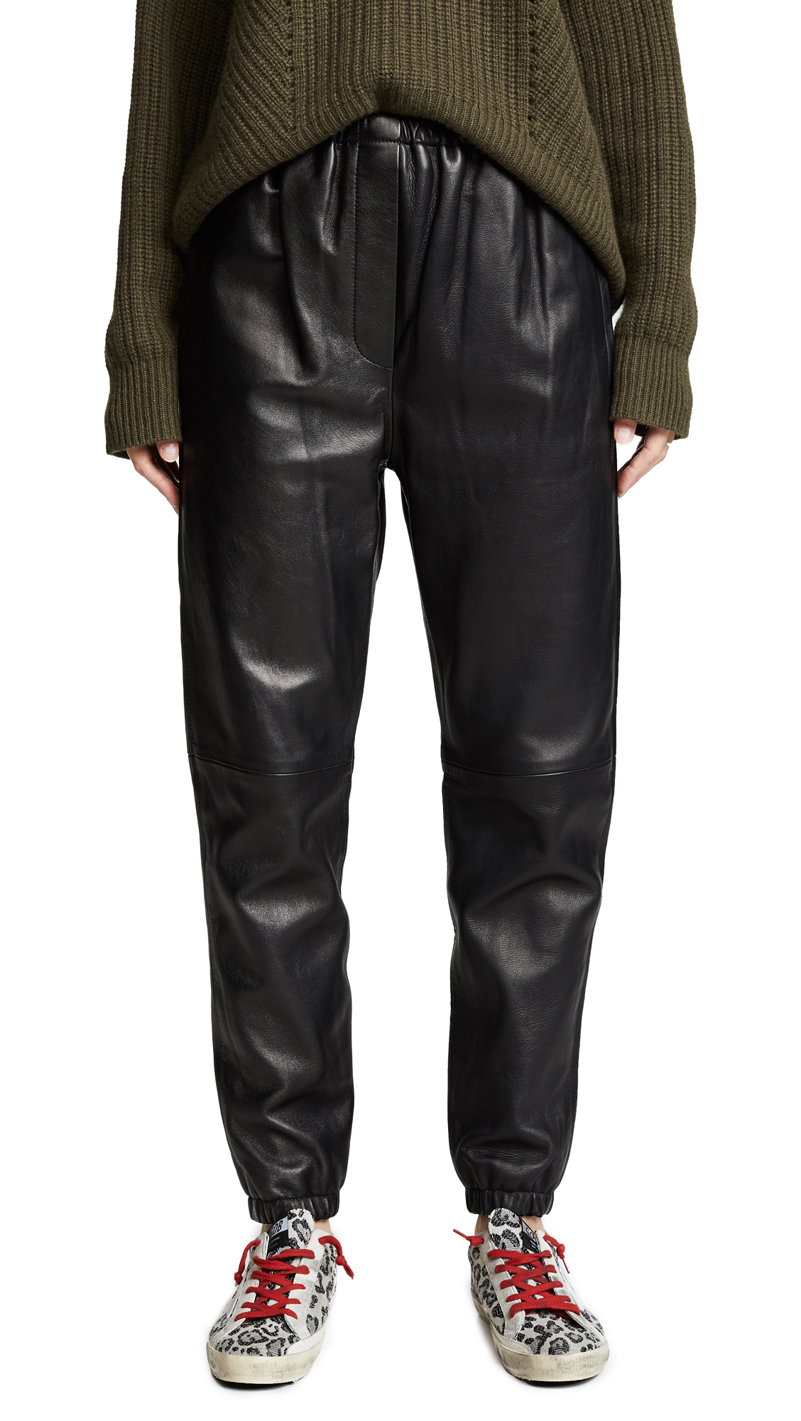 Leather Track Pants in Black