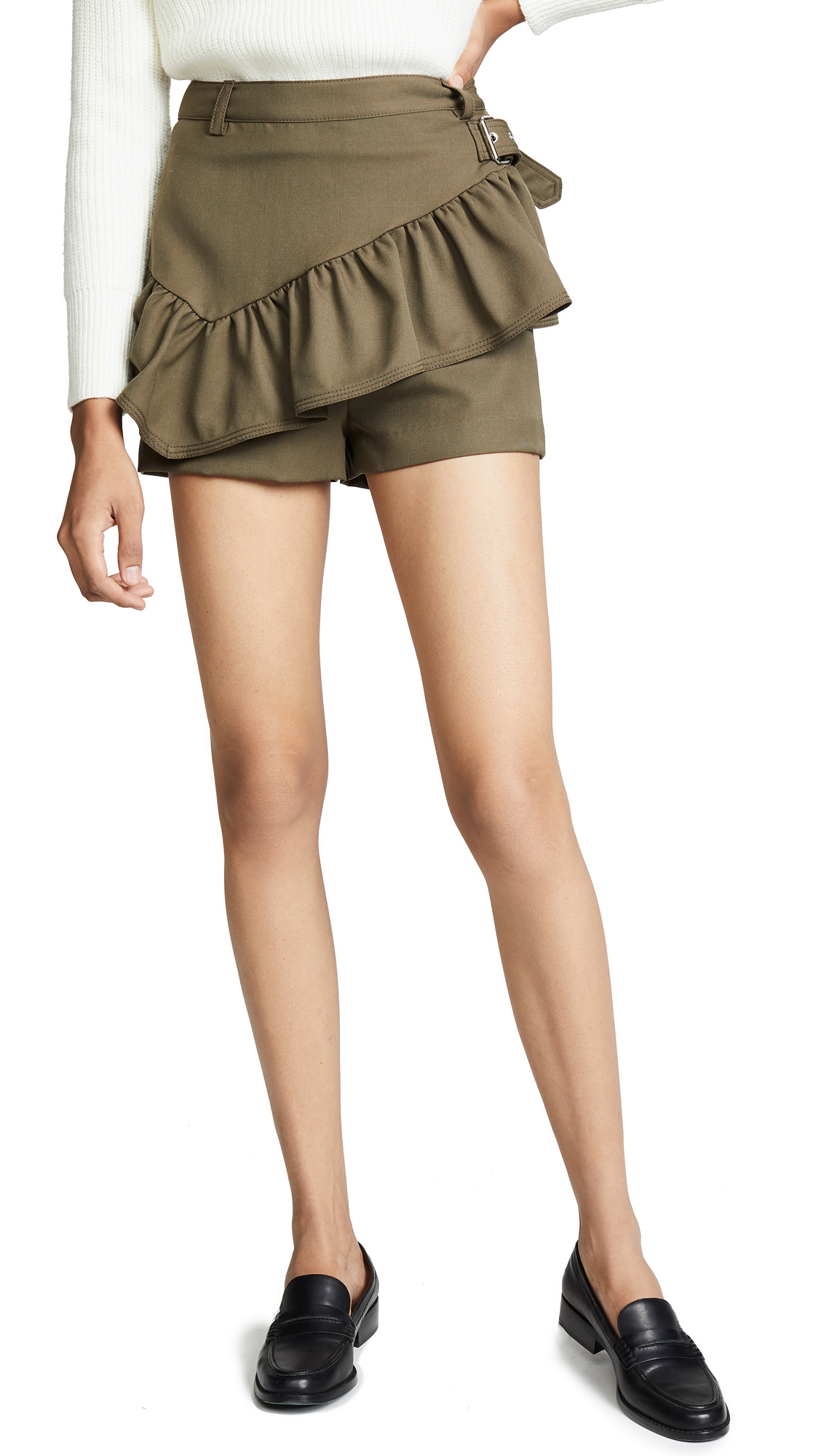 3.1 Phillip Lim Shorts with Ruffle Apron In Fir Green