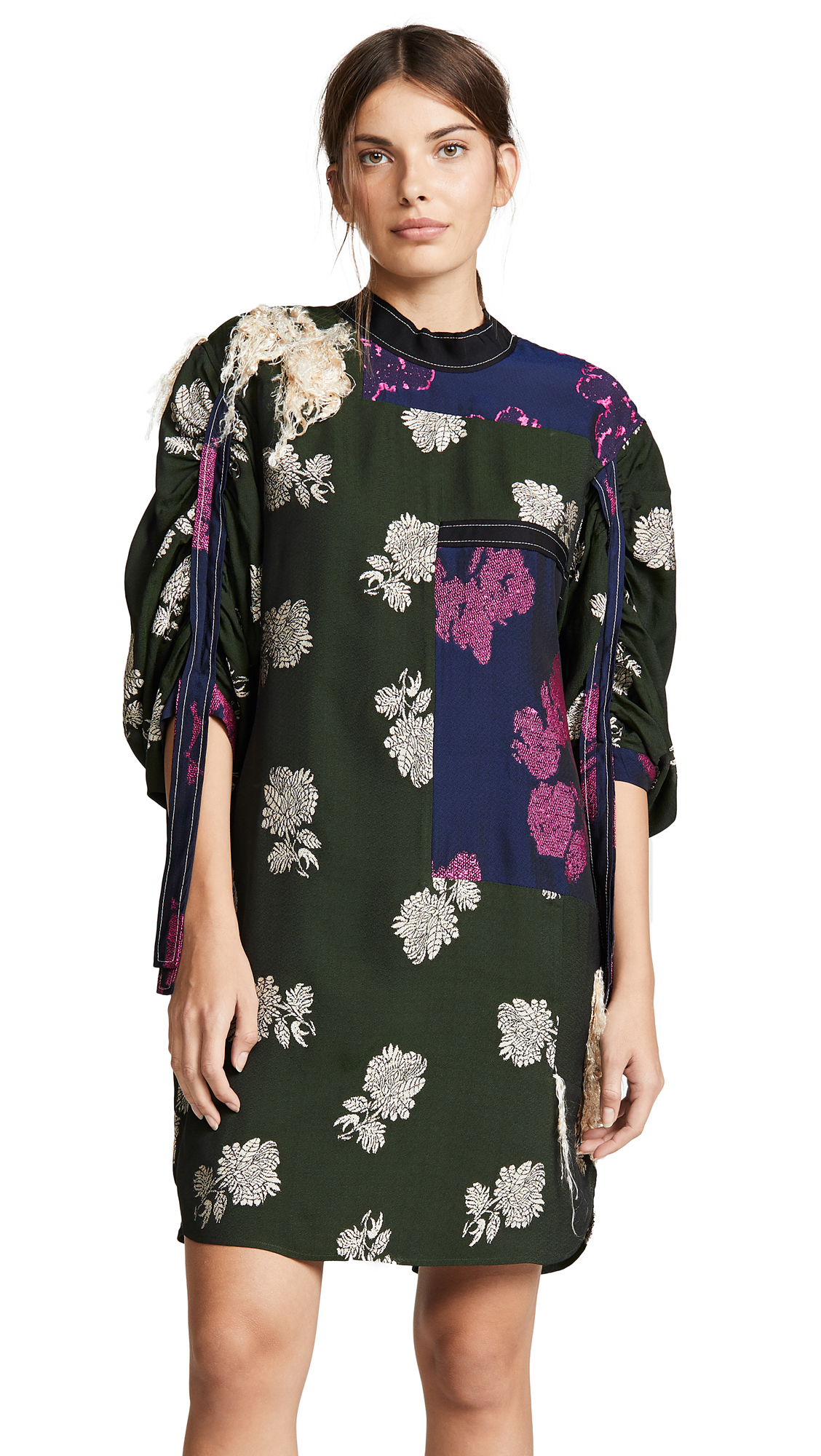 3.1 Phillip Lim Gathered Sleeve Dress - Navy/Fuchsia