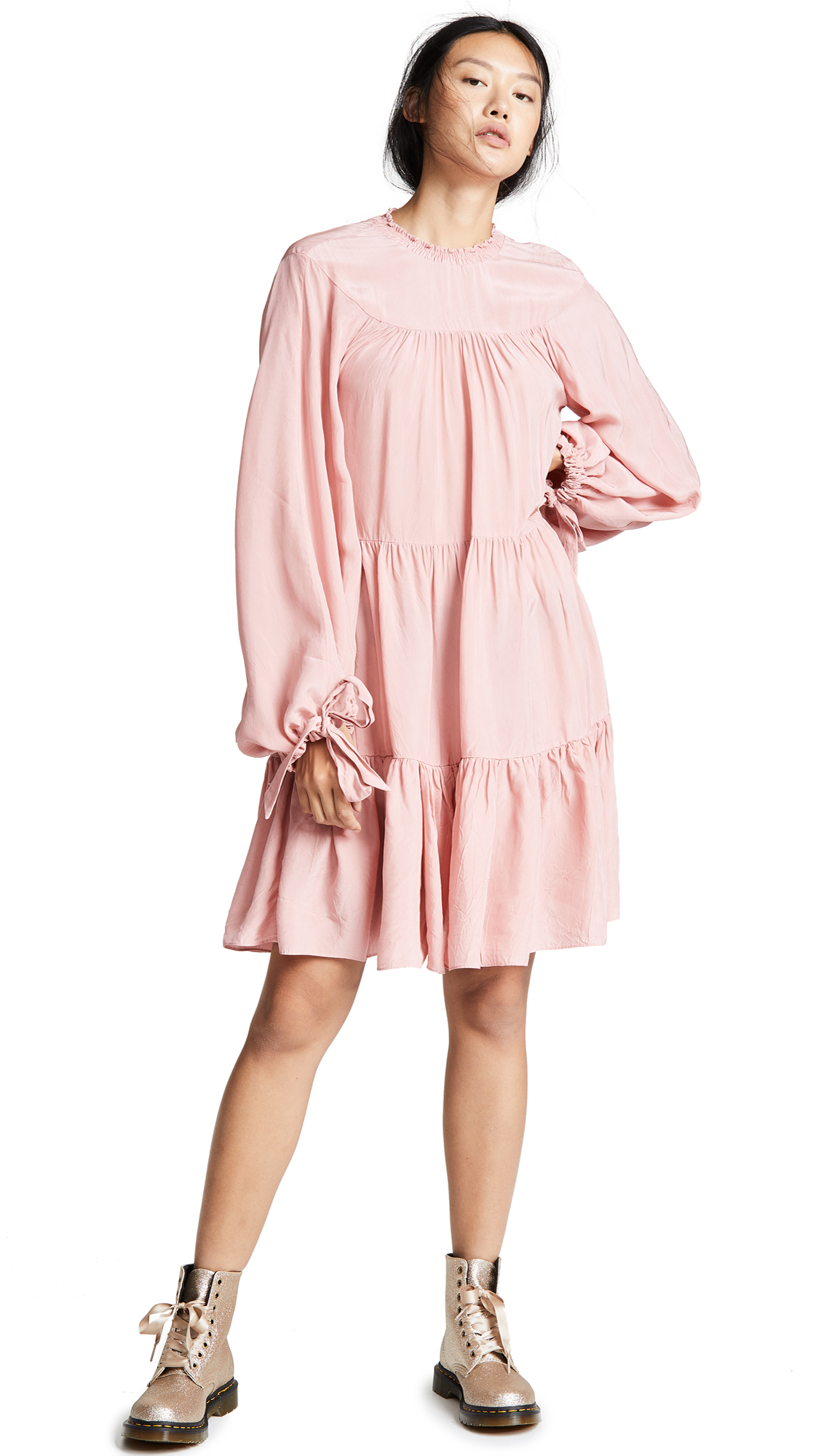 3.1 Phillip Lim LS Short Gathered Dress In Dusty Pink