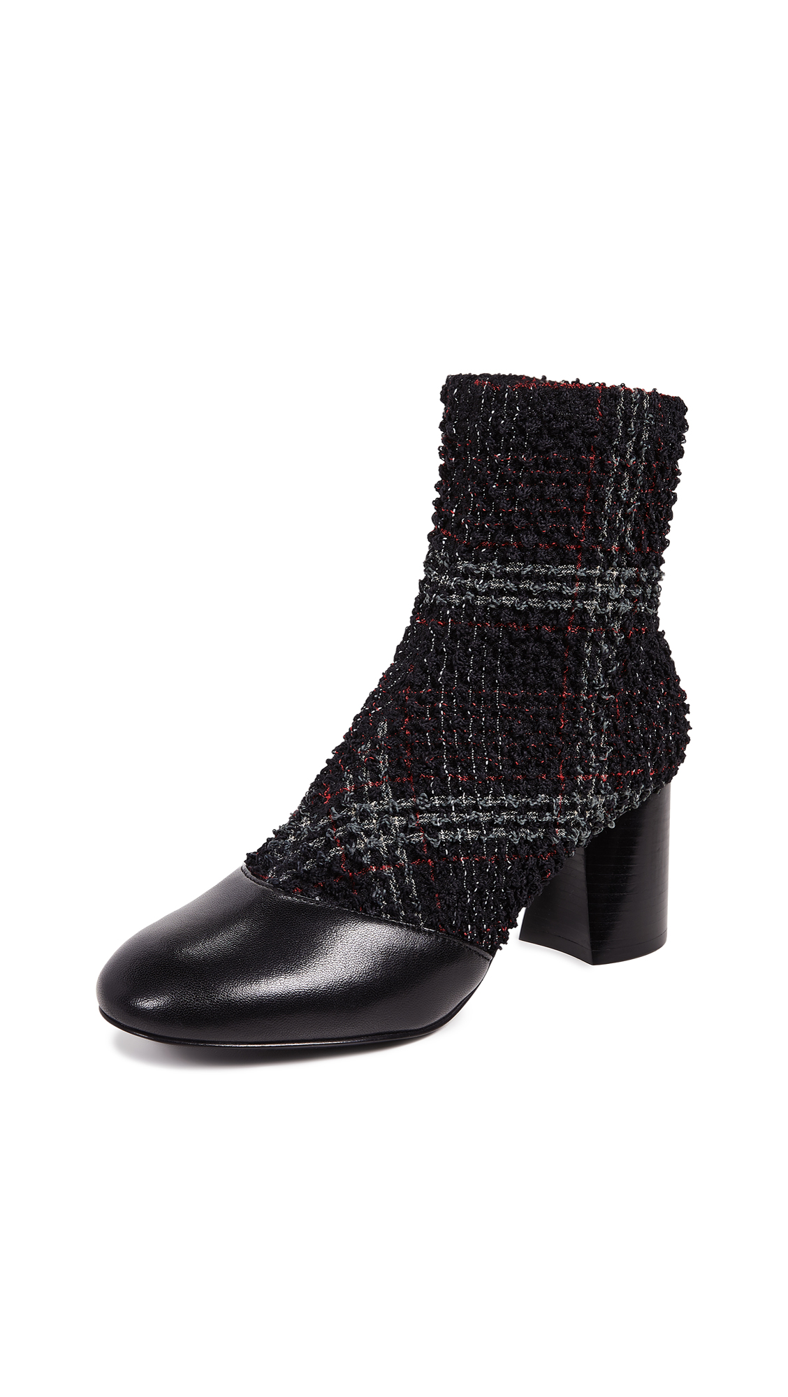 3.1 Phillip Lim Drum Stretch Ankle Booties - Black/Green/Red Check