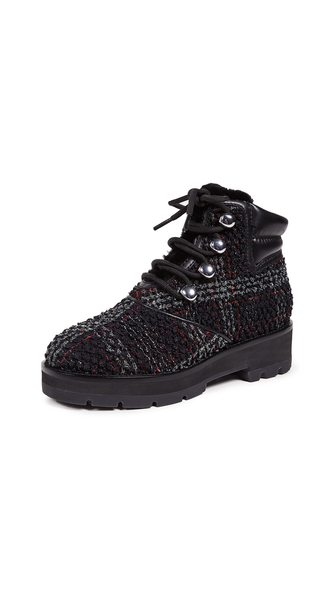 3.1 Phillip Lim Dylan Lace Up Hiking Boots - Black/Green/Red Check