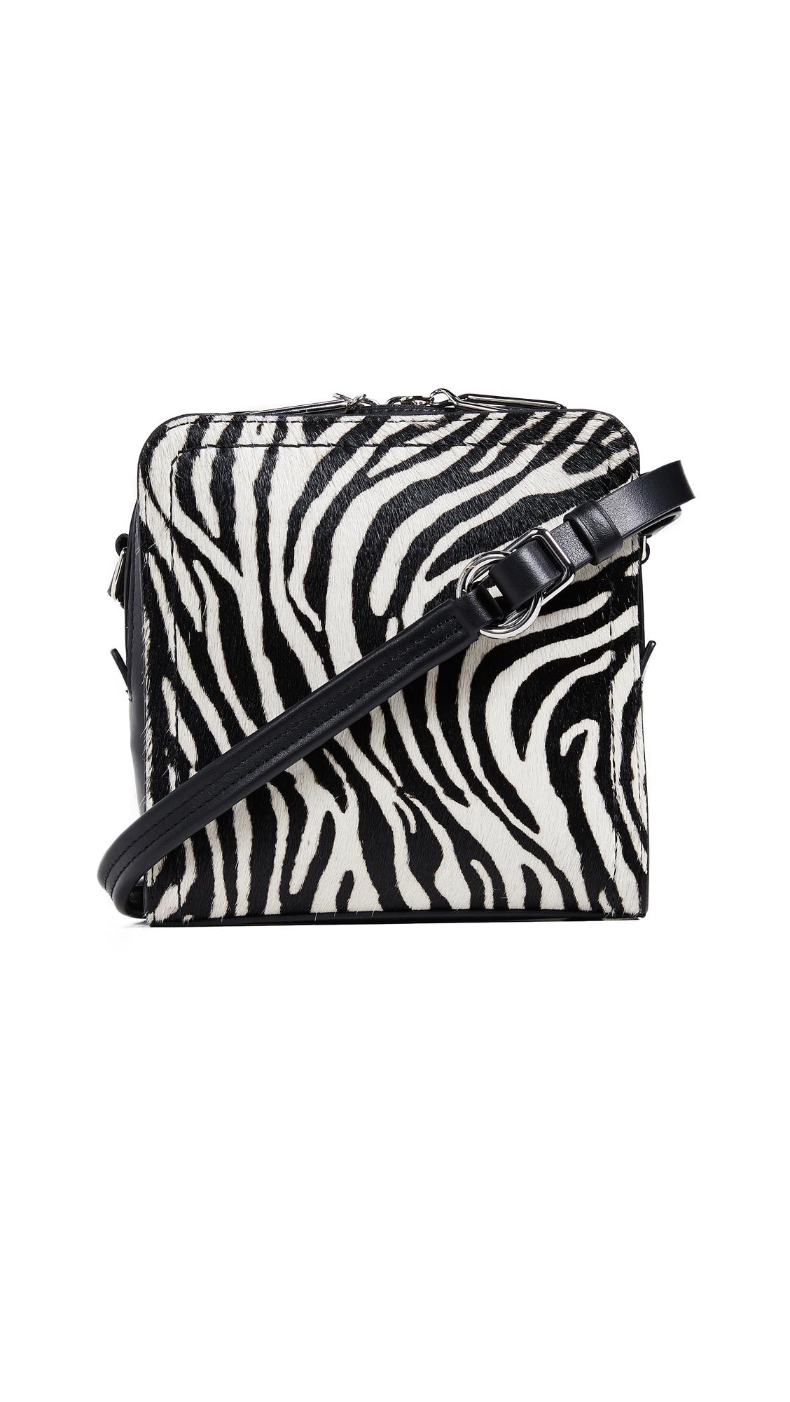 Mini Hudson Genuine Calf Hair & Leather Crossbody Bag - White, Black/White