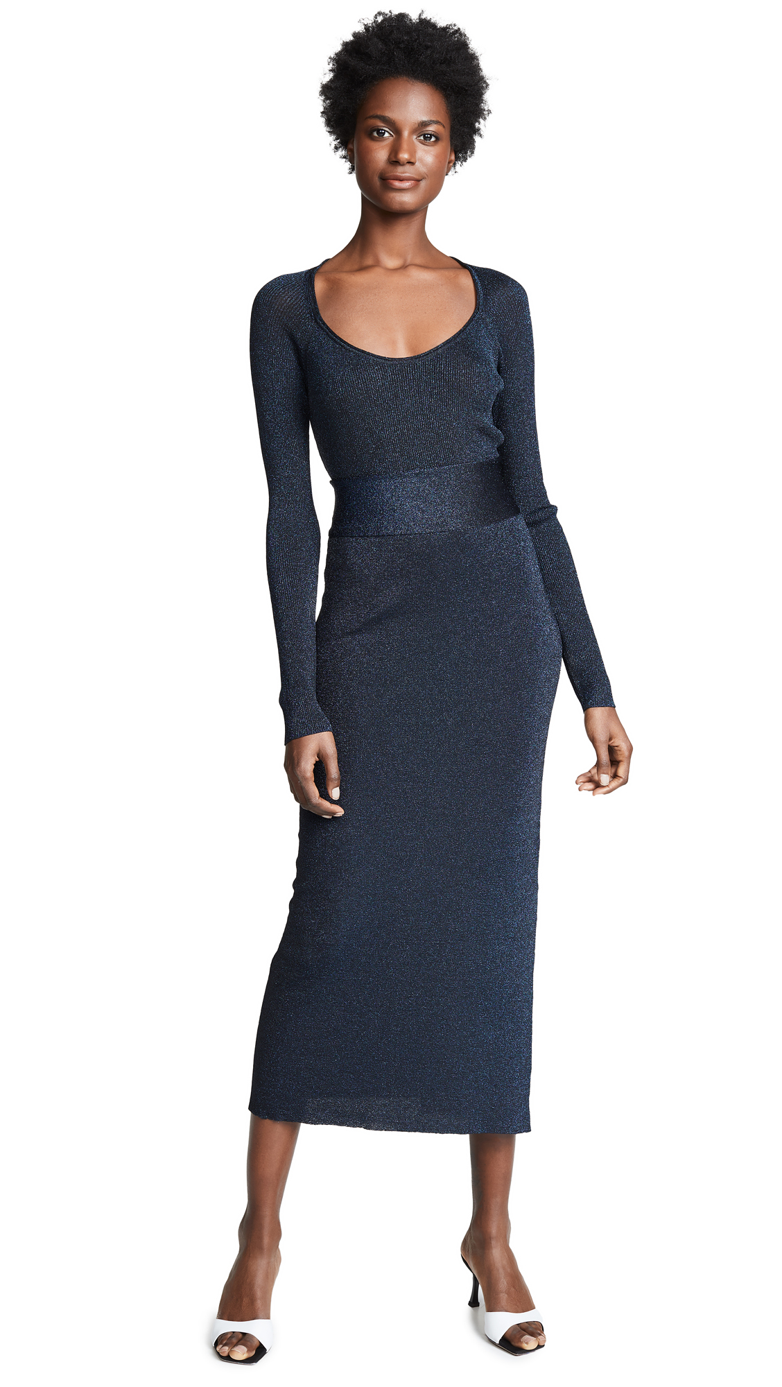 3.1 Phillip Lim Metallic Rib Midi Dress - Navy