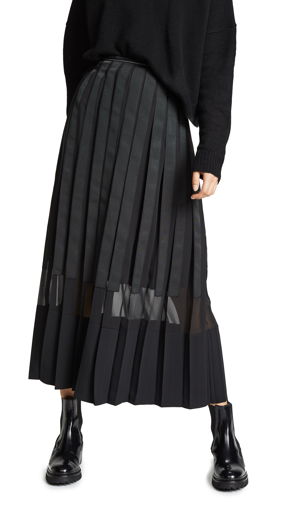 3.1 Phillip Lim Grosgrain Ribbon Pleated Skirt In Black  13d08ba18