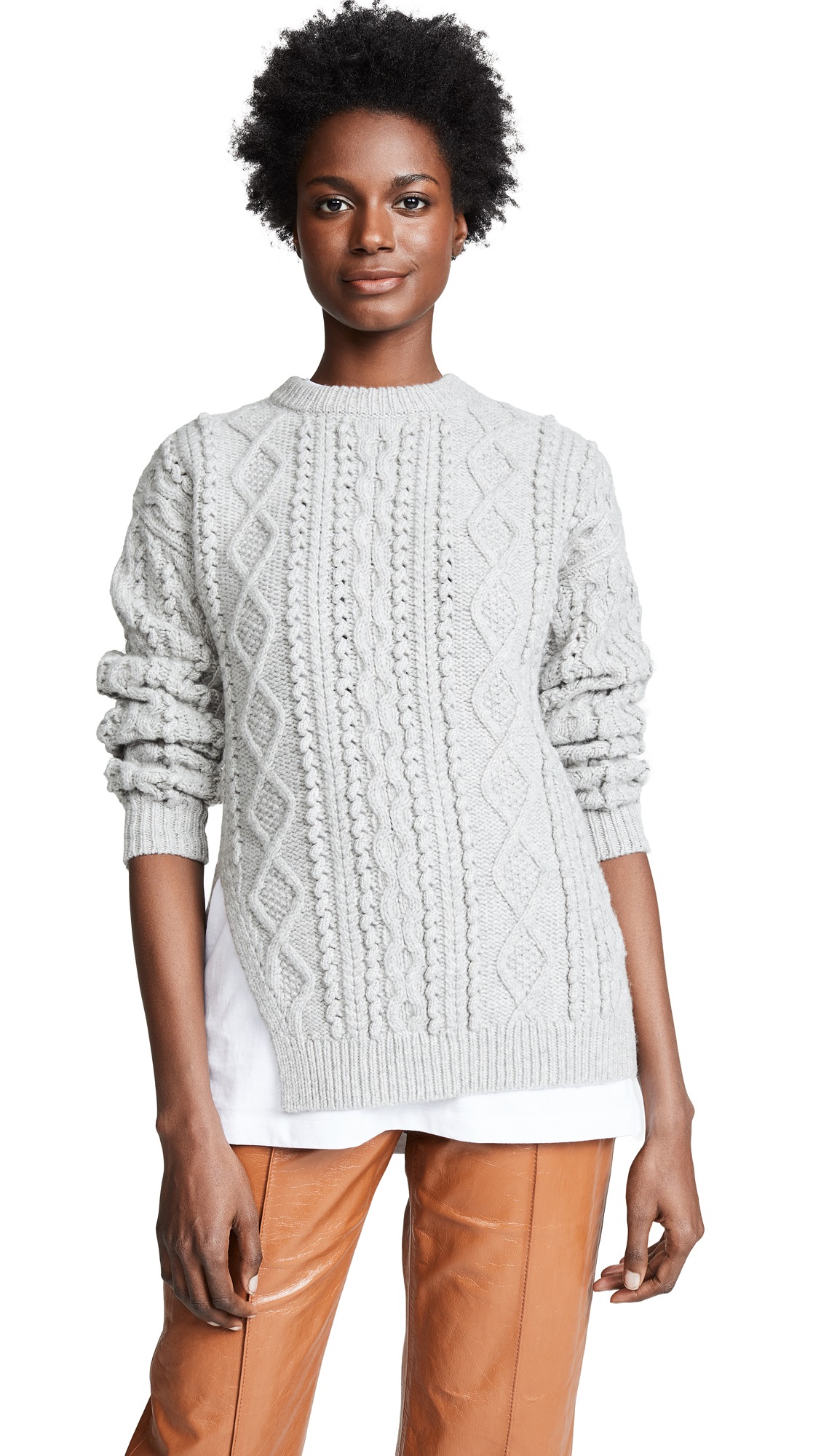 3.1 Phillip Lim Popcorn Cable Long Pullover - Light Grey