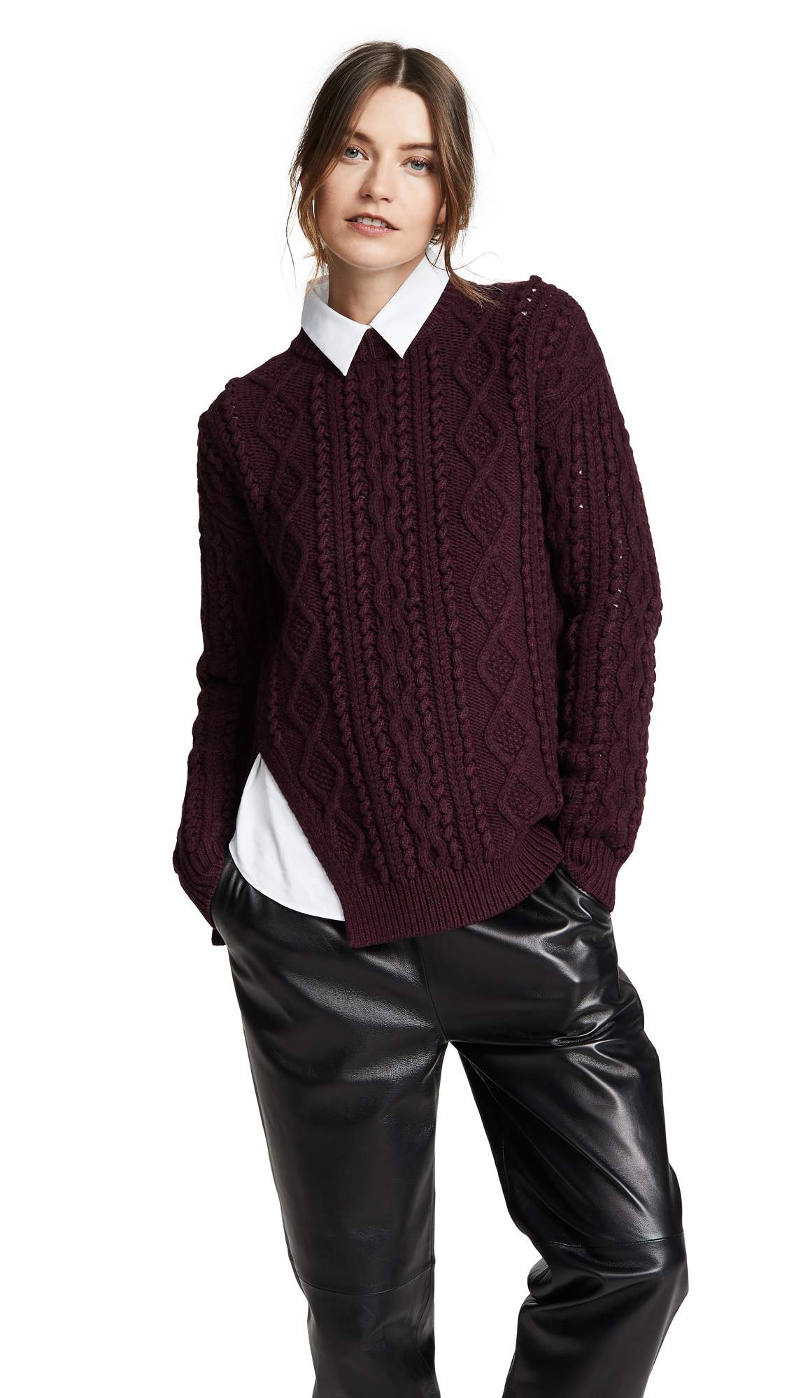 3.1 Phillip Lim Popcorn Cable Long Pullover - Wine