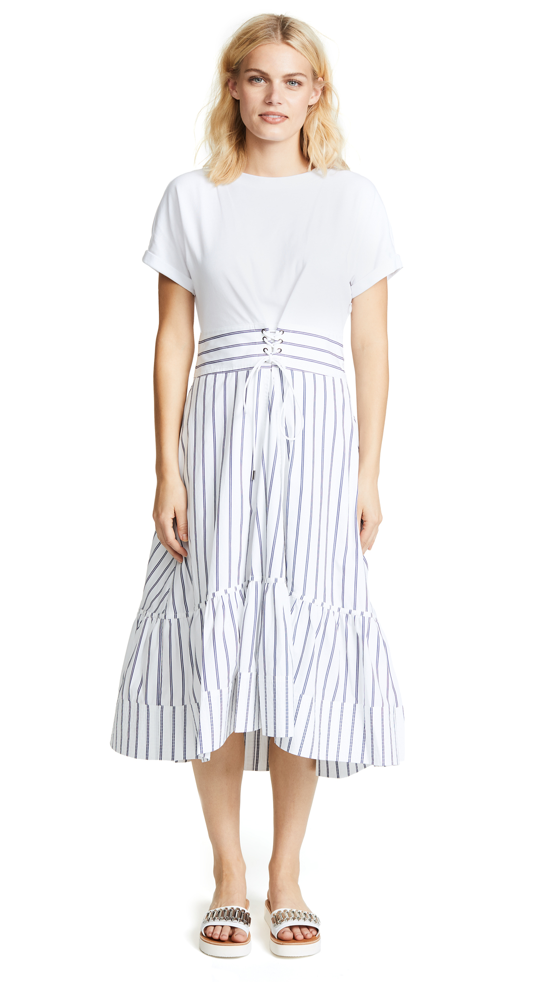 3.1 Phillip Lim Short Sleeve Dress With Corset Waist In White Navy ... 453ceb76a